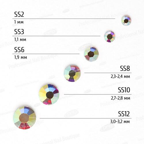 Стразы PNB АВ, микс размеров, стекло