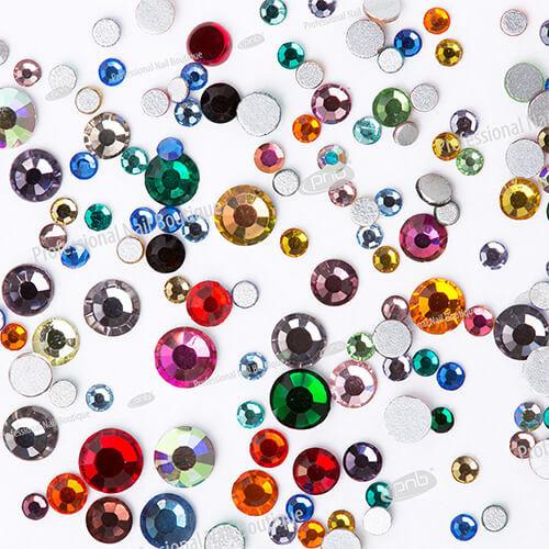 Стразы PNB разноцветные, микс размеров, стекло