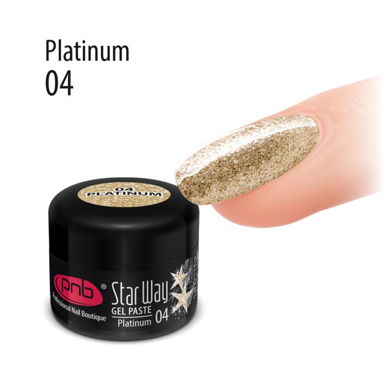 UV/LED Gel Paste PNB Star Way, 04 Platinum, 5 ml/ Гель паста PNB «Стар Вей», 04 Платина, 5 мл